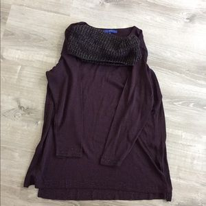 Plum sweater with matching infinity scarf.